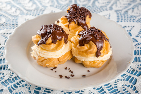 Profiterole Cream Puff with chocolate