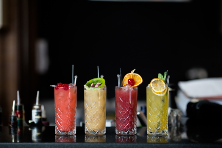 Four Fantastic Fresh Fruit Cocktails Stock Photo