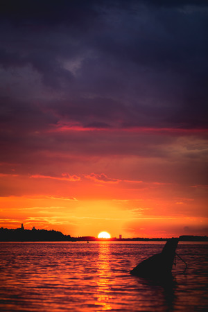 Sunset on Danube river in Belgrade, Serbia Stock Photo