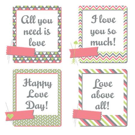 バレンタインのグリーティング カード - インスタント フォト フレーム カードのセットします。