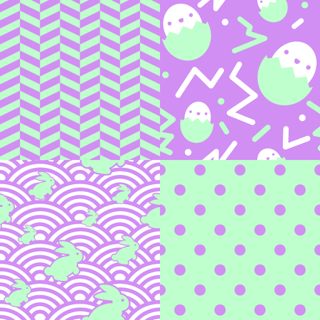 inspired: Collection of 4 retro Easter patterns inspired on the eighties.