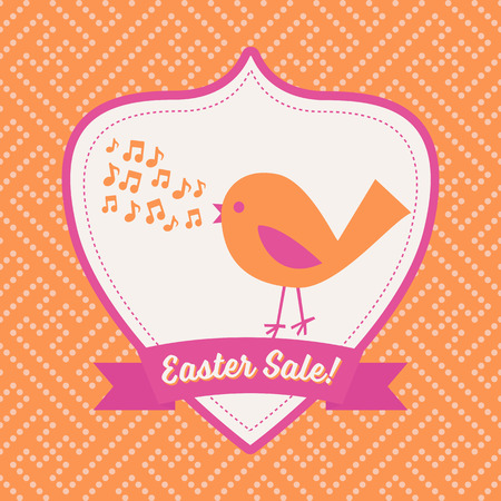 singing bird: Singing Bird Easter Sale Poster - Cute character banner template advertising an Easter Sale