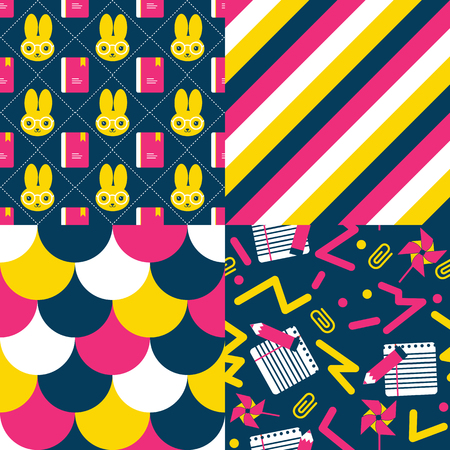 eighties: Back to school patterns. Collection of 4 school themed retro seamless patterns. Mixes a cute character and eighties retro style.