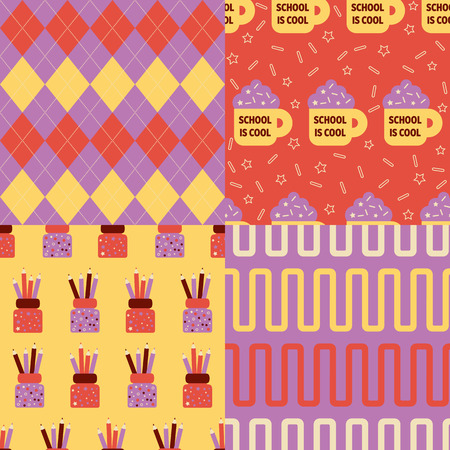 Back to school patterns. Collection of 4 school themed retro seamless patterns Illustration