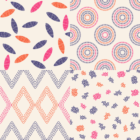 Collection of 4 vector handmade seamless patterns with a organic and bohemian feel to them. Chic and trendy pattern set.