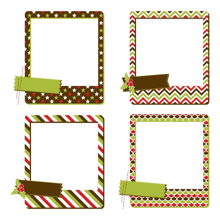 Set of instant photo frames. Collection of 4 Christmas Frames Ilustração