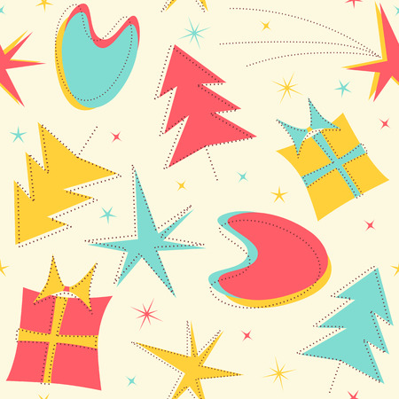 Mid-Century Christmas Pattern with Xmas Trees, Gifts, stars and traditional illustrations inspired on the Fifties.