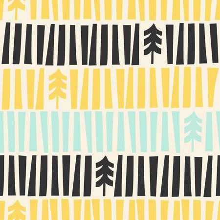 De mediados del siglo moderno ilustrado patrón de Navidad. Patrón de vacaciones sin fisuras con ilustraciones hechas a mano de Árboles de Navidad inspiradas en los años cincuenta.