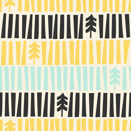 Mid-Century Modern illustrated Christmas Pattern. Seamless Holiday Pattern with handmade Xmas Trees illustrations inspired on the Fifties. Vectores