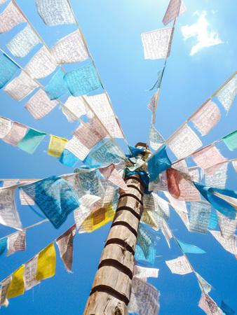 Buddhist prayer flags in Shangri La, China