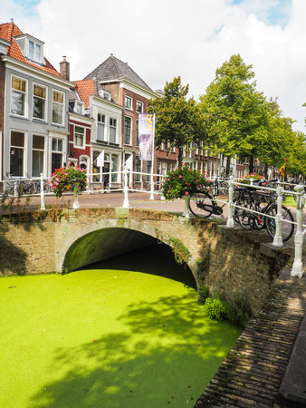 City center of Delft during summer with the canals covered in duckweed, Netherlands Editorial