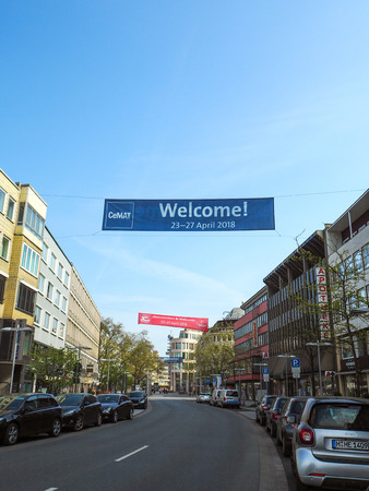 Hannover, Germany - April 2018: Large blue banner hanging in the city center of Hannover promoting CeMAT 2018