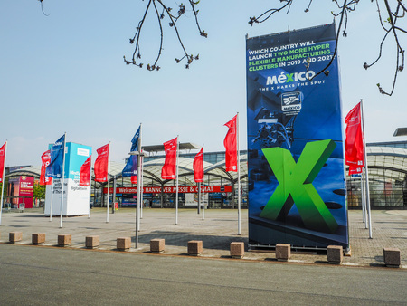 Hannover, Germany - April 2018: Large advertisement from partner country Mexico at the west entrance of the Hannover Messe