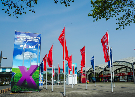 Hannover, Germany - April 2018: Large advertisement from partner country Mexico at the west entrance of the Hannover Messe Editorial