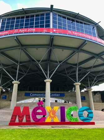 Hannover, Germany - April 2018: Large advertisement from official partner country of 2018, Mexico Éditoriale