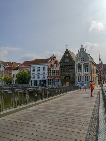 Historical houses at the Haverwerf in the city center of Mechelen, Belgium. The haverwerf was used for trading oats.