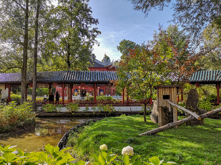 September 2018 - Brugelette, Belgium: The authentic Chinese garden home to the panda's in the wildlife park Pairi Daiza, with traditional architecture