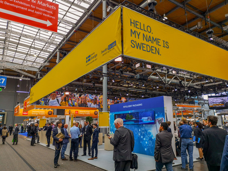 Hannover, Germany - April 2019: Booth of partner country Sweden at the Hannover Messe exhibition 2019 Sajtókép