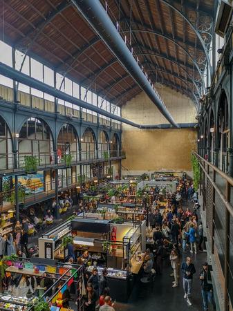April 2019 - Mechelen, Belgium: The recently opened Smaakmarkt food markt in the old Vleeshalle in the city center of Mechelen