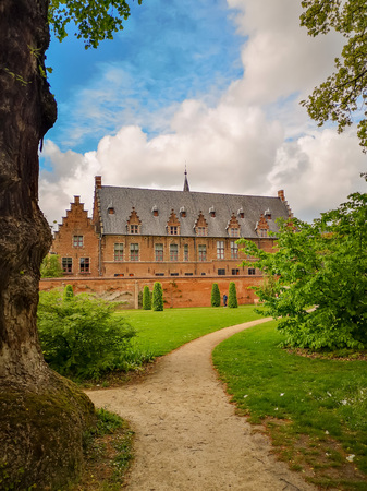 April 2019 - Mechelen, Belgium: The recently opened garden of the archiepiscopal palace in the city center, adjacent to the royal manufacturer De Wit Stock fotó - 127150593