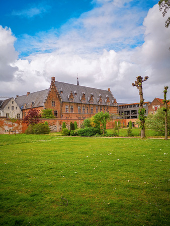 April 2019 - Mechelen, Belgium: The recently opened garden of the archiepiscopal palace in the city center, adjacent to the royal manufacturer De Wit