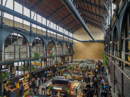 April 2019 - Mechelen, Belgium: The recently opened Smaakmarkt food markt in the old Vleeshalle in the city center of Mechelen