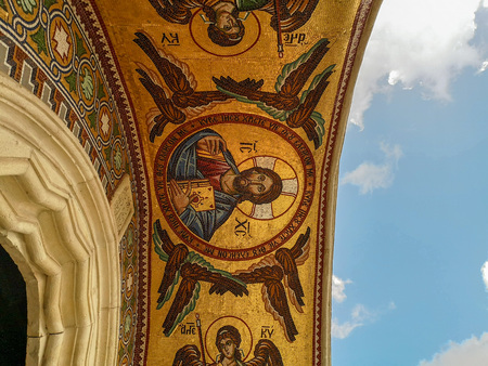 August 2018 - Cyprus: Stunning mosaic artwork above the entrance of the Greek orthodox Kykkos Monastery of the Holy Virgin in Troodos mountains Sajtókép