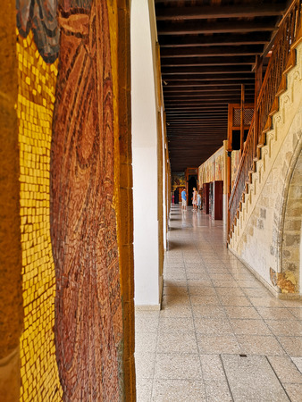 August 2018 - Cyprus: Long hallway in the Greek orthodox Kykkos monastery of the holy virgin in the Troodos mountains