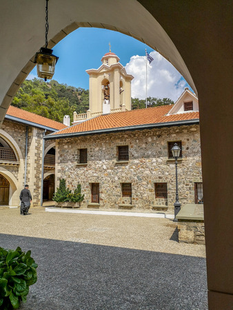 August 2018 - Cyprus: Main courtyard of the active Greek orthodox Kykkos monastery in the Troodos mountains Stock fotó - 127150621