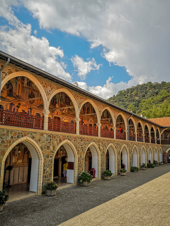August 2018 - Cyprus: Gorgeous building in the Greek orthodox Kykkos monastery with multiple archways that are covered with mosaic art Sajtókép