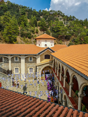 August 2018 - Cyprus: Main courtyard of the active Greek orthodox Kykkos monastery in the Troodos mountains Stock fotó - 127150625