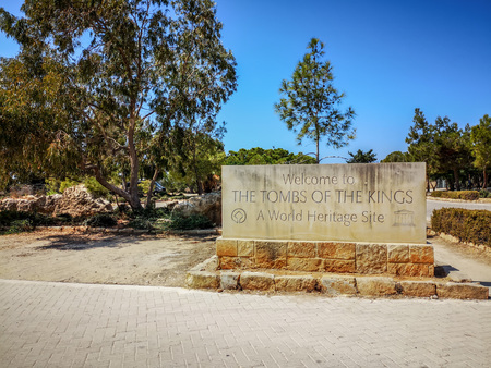 August 2018 - Cyprus: Entrance of the archaeological Unesco world heritage site Tombs of the Kings in Paphos Sajtókép