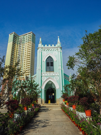 MACAU,CHINA - NOVEMBER 2018: The Saint Michael's chapel and surrounding cemetery in the city center Stock fotó - 127150826