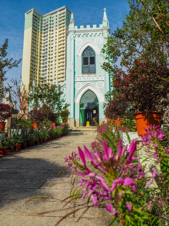 MACAU,CHINA - NOVEMBER 2018: The Saint Michaels chapel and surrounding cemetery in the city center