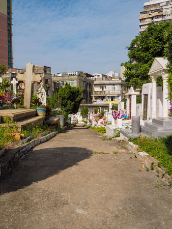 MACAU,CHINA - NOVEMBER 2018: The Saint Michael's chapel and cemetery in the city center with graves of catholic Macau Portuguese and Chinese Stock fotó - 127150828