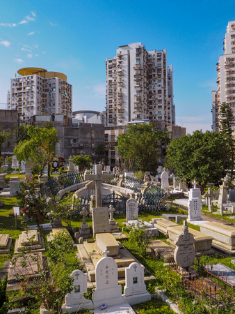 MACAU,CHINA - NOVEMBER 2018: The Saint Michael's chapel and cemetery in the city center with graves of catholic Macau Portuguese and Chinese Stock fotó - 127150829