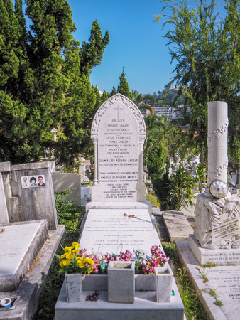 MACAU,CHINA - NOVEMBER 2018: The Saint Michael's chapel and cemetery in the city center with graves of catholic Macau Portuguese and Chinese Stock fotó - 127150830