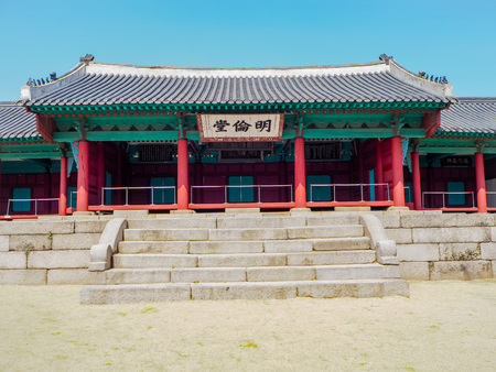 MARCH 2019 - SEOUL,KOREA: The colorful Myeongryundang lecture hall at the Seonggyungwan Munmyo temple, the primary Confucian temple in Korea Stock fotó - 127150838