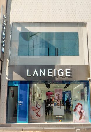 March 2019 - Seoul, South Korea: Store of the South Korean luxury skincare brand Laneige, owned by AMore Pacific, in Myeongdong shopping district Stock fotó - 127151309