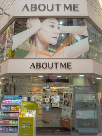 March 2019 - Seoul, South Korea: Store of the South Korean skincare brand About me, owned by Samyang Group, in Myeongdong shopping district Stock fotó - 127151311
