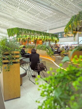 May 2018 - South Korea: Cosy and lush seating area with numerous green plants in terminal 2 of the Incheon International Airport Sajtókép