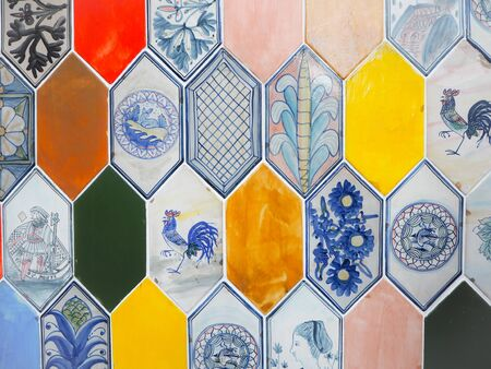 Variety of colorful hexagon ceramic tiles with intricate designs Stock fotó