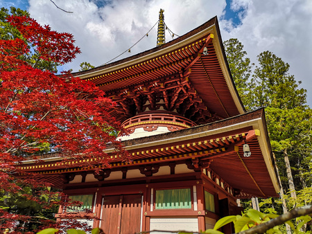 The colorful Toto Pagoda or Eastern Pagoda in the Unesco listed Danjon Garan Shingon buddhism temple complex in Koyasan, Wakayama, Japan