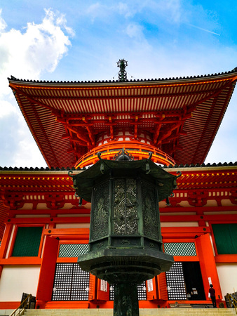 The vibrant red Konpon Daito Pagoda in the Unesco listed Danjo Garan shingon buddhism temple complex in Koyasan, Wakayama, Japan. A famous pilgrimage.