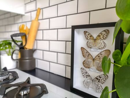 Beautiful black and white framed butterflies in a black and white subway tiled kitchen Stock fotó