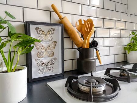 Framed taxidermy butterflies art in a black and white subway tiled kitchen with numerous plants