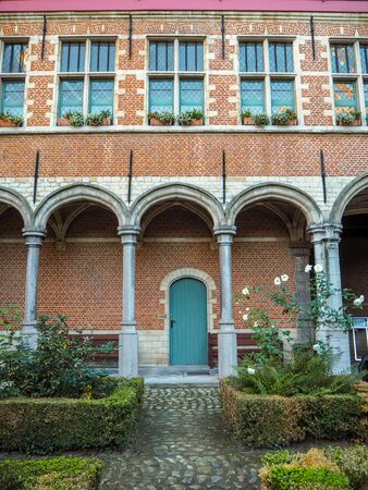 October 2018 - Mechelen, Belgium: Inner courtyard of the 16th century Palace of Margaret of Austria, now the court of justice