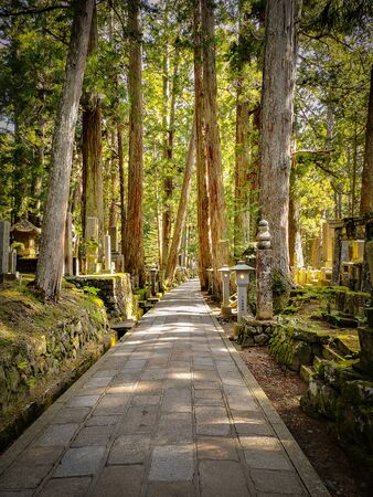 Two kilometer long path in the Okunion cemetery in Koyasan ( Wakayama - Japan), flanked with 300 000 gravestones Stock fotó