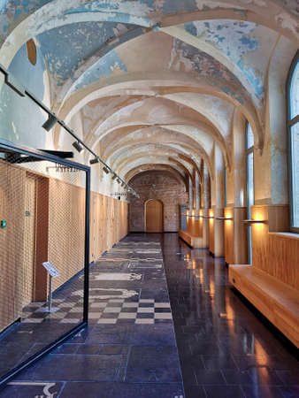 July 2020 - Mechelen, Belgium: The restored hallways of the Predikheren monastery at the reconverted Tinel site in the city center