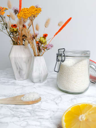 Plastic free homemade laundry detergent from all natural products such as lemon and sodium for an eco-friendly lifestyle